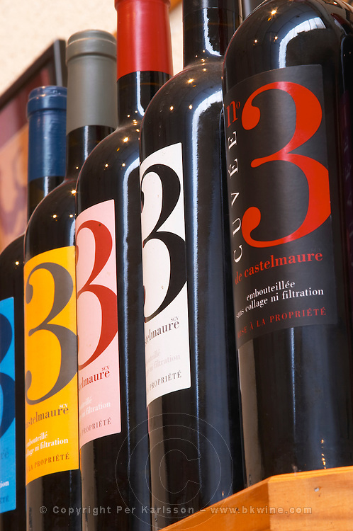 Cuvee number 3 three. Embres et Castelmaure Cave Cooperative co-operative. Les Corbieres. Languedoc. The wine shop and tasting room. France. Europe. Bottle.