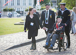 © Licensed to London News Pictures. 06/06/2014. Bayeux, Normandy.  Len Bloomfield (93), a D Day veteran and former Royal Marine Commando joined fellow veterans today and their guests at the Royal British Legions 70th Anniversary service of the D Day landings in the cathedral in Bayeux this morning.  The majority of the 600 veterans attended the service along with HRH The Queen and Prince Phillip.  Photo credit : Alison Baskerville/LNP