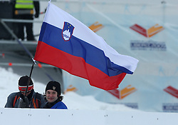 Fans of Slovenia at Ladies`s Sprint Qualifications Cross-country race at  FIS Nordic World Ski Championships Liberec 2008, on February 24, 2009, Vestec, Liberec, Czech Republic. (Photo by Vid Ponikvar / Sportida)