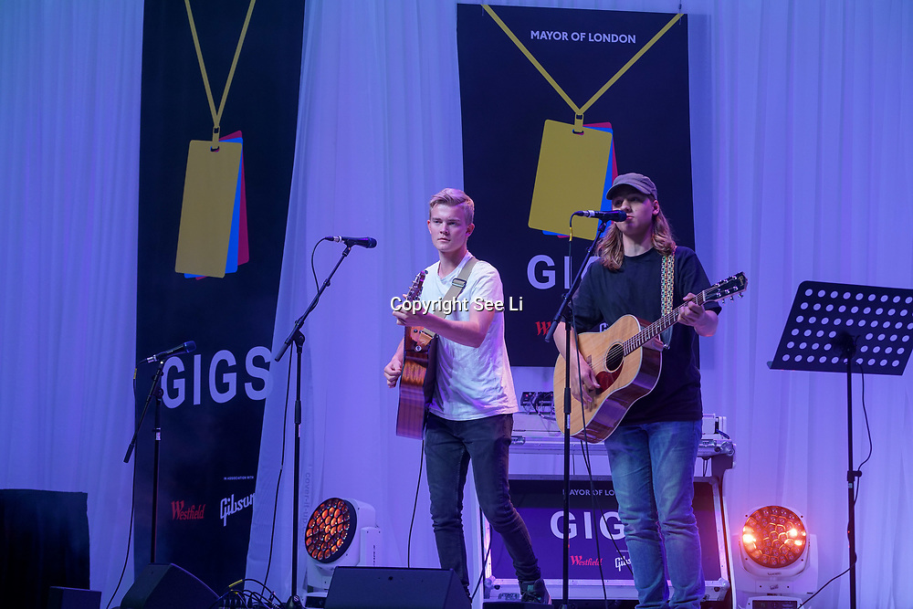 London, UK. 3rd September 2017. Finalist Roadstead band of two preforms at the Mayor Of London Gigs at Westfield London.