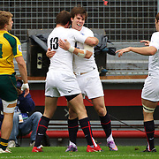 Sam Smith, England is congratulated by Andy Forsyth (13) after scoring an England try during the England V Australia  semi final match at Estadio El Coloso del Parque, Rosario, Argentina, during the IRB Junior World Championships. 17th June 2010. Photo Tim Clayton....