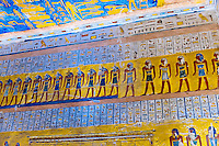 Hieroglyphics, Tomb of Ramses IV, Valley of the Kings Archaeological site, near Luxor, Egypt