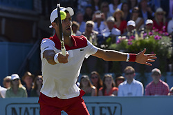 June 22, 2018 - London, United Kingdom - Novak Djokovic of Serbia plays forehand against Adrian Mannarino of France in the the quarter final singles match on day five of Fever Tree Championships at Queen's Club, London on June 22, 2018. (Credit Image: © Alberto Pezzali/NurPhoto via ZUMA Press)