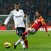 Galatasaray's Emre Colak (R) during their Turkish superleague soccer derby match Galatasaray between Besiktas at the TT Arena at Seyrantepe in Istanbul Turkey on Sunday, 27 January 2013. Photo by Aykut AKICI/TURKPIX