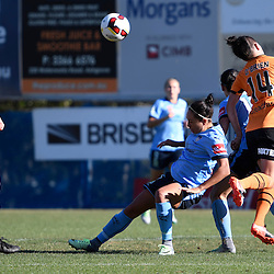 BRISBANE, AUSTRALIA - OCTOBER 30: Summer O'Brien of the Roar heads the ball in defence during the round 1 Westfield W-League match between the Brisbane Roar and Sydney FC at Spencer Park on November 5, 2016 in Brisbane, Australia. (Photo by Patrick Kearney/Brisbane Roar)