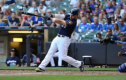September 23, 2017 - Milwaukee, WI, USA - Milwaukee Brewers batter Travis Shaw (21) hits a game-winning, two-run home run in the 10th inning against the Chicago Cubs on Saturday, Sept. 23, 2017 at Miller Park in Milwaukee, Wis. (Credit Image: © Chris Sweda/TNS via ZUMA Wire)