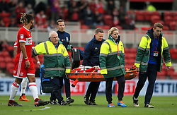 Patrick Bamford of Middlesbrough is stretchered off after receiving treatment - Mandatory by-line: Matt McNulty/JMP - 14/04/2018 - FOOTBALL - Riverside Stadium - Middlesbrough, England - Middlesbrough v Bristol City - Sky Bet Championship