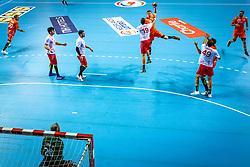 The Dutch handball player Niels Versteijnen in action during the European Championship qualifying match against Turkey in the Topsport Center Almere.