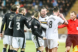 Falkirk's Blair Alston and Falkirk's John Baird argue with Dumbarton's Grant Gallagher. <br /> Falkirk 1 v 0 Dumbarton, Scottish Championship game played 26/12/2015 at The Falkirk Stadium.