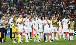 MOSCOW, July 11, 2018  Players of England greet the audience after the 2018 FIFA World Cup semi-final match between England and Croatia in Moscow, Russia, July 11, 2018. Croatia won 2-1 and advanced to the final. (Credit Image: © Xu Zijian/Xinhua via ZUMA Wire)