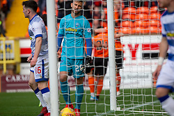 Morton's keeper Danny Rogers after Dundee United's Lawrence Shankland second goal. Dundee United 6 v 0 Morton, Scottish Championship game played 28/9/2019 at Dundee United's stadium Tannadice Park.