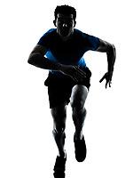 one caucasian man runner running sprinter sprinting  in silhouette studio  isolated on white background