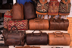 Leather bags for sale in the Medina in Marrakech, Morocco, North Africa<br /> <br /> <br /> (c) Andrew Wilson   Edinburgh Elite media