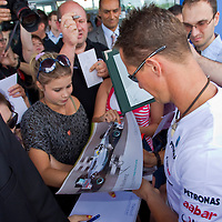 Formula One driver Michael Schumacher attends a Mercedes press conference in Fot, Hungary. Thursday, 29. July 2010. ATTILA VOLGYI