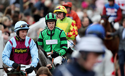James Davies on Bobo Mac after the Simplify Horse Racing Selections With Betfinder At Betbright Handicap Hurdle during the New Year Meeting at Cheltenham Racecourse.