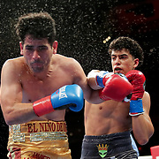 HOLLYWOOD, FL - APRIL 17:  Aaron Aponte punches Javier Martinez during their fight at Seminole Hard Rock Hotel & Casino on April 17, 2021 in Hollywood, Florida. (Photo by Alex Menendez/Getty Images) *** Local Caption *** Aaron Aponte; Javier Martinez