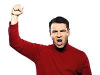 caucasian man revolt man raising fist gesture studio portrait on isolated white backgound