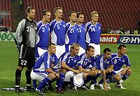 Fotball<br /> 08.09.2007<br /> EM-kvalifisering<br /> Serbia v Finland<br /> Foto: Gepa/Digitalsport<br /> NORWAY ONLY<br /> <br /> Lagbilde Finland<br /> Jussi Jaaskelainen, Petri Pasanen, Hannu Tihinen, Jonatan Johansson, Markus Heikkinen und Toni Kuivasto. Vorne von links Mika Nurmela, Sami Hyypia, Daniel Sjolund, Alexei Eremenko und Teemu Tainio (FIN)