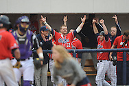 Ole Miss' Tanner Mathis (12) celebrates as the Rebels take the lead vs. Lipscomb at Oxford-University Stadium in Oxford, Miss. on Sunday, March 10, 2013. Ole Miss won 9-8. The Rebels improve to 16-1.