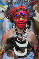 """© Licensed to London News Pictures. 24/09/2018. LONDON, UK. A member from Fiji and Ngati Ranana, the London Maori Club, takes part in a ceremonial procession and blessing ceremony for the forthcoming """"Oceania"""" exhibition at the Royal Academy of Arts.  The exhibition runs 29 September – 10 December 2018, representing the art of Melanesia, Micronesia and Polynesia, encompassing the vast Pacific region from New Guinea to Easter Island, Hawaii to New Zealand.  Photo credit: Stephen Chung/LNP"""