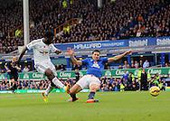 Swansea's Wilfred Bony puts a good chance wide<br /> <br /> Barclays Premier League- Everton vs Swansea City - Goodison Park - England - 1st November 2014 - Picture David Klein/Sportimage