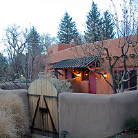 North America, United States, New Mexico, Taos. One of the lovely casita suites at El Monte Sagrado eco-resort.
