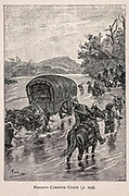 Fording Cabanna Creek from the book ' Mistress Branican ' by Jules Verne, illustrated by Leon Benett. The story begins in the United States, where the heroine, Mistress Branican, suffers a mental breakdown after the death by drowning of her young son. On recovering, she learns that her husband, Captain Branican, has been reported lost at sea. Having acquired a fortune, she is able to launch an expedition to search for her husband, who she is convinced is still alive. She leads the expedition herself and trail leads her into the Australian hinterland. Mistress Branican (French: Mistress Branican, 1891) is an adventure novel written by Jules Verne and based on Colonel Peter Egerton Warburton and Ernest Giles accounts of their journeys across the Western Australian deserts, and inspired by the search launched by Lady Franklin when her husband Sir John Franklin was reported lost in the Northwest Passage. Translated by A. Estoclet, Published in New York, Cassell Pub. Co. 1891.