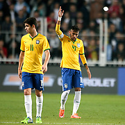 Brazil's Neymar JR (R) celebrate his goal during their a international friendly soccer match Turkey betwen Brazil at Sukru Saracoglu Arena in istanbul November 12, 2014. Photo by Aykut AKICI/TURKPIX