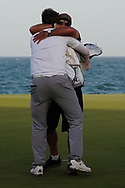 Sami Valimaki (FIN) celebrates with his caddy Kyle Roadley after winning the Oman Open 2020 at the Al Mouj Golf Club, Muscat, Oman . 01/03/2020<br /> Picture: Golffile | Thos Caffrey<br /> <br /> <br /> All photo usage must carry mandatory copyright credit (© Golffile | Thos Caffrey)