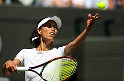LONDON, July 7, 2018  Hsieh Su-Wei of Chinese Taipei serves during the women's singles third round match against Simona Halep of Romania at the Wimbledon Championships 2018 in London, Britain, July 7, 2018. Hsieh Su-Wei won 2-1. (Credit Image: © Shi Tang/Xinhua via ZUMA Wire)