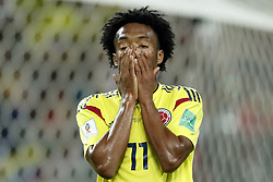 Juan Cuadrado of Colombia during the 2018 FIFA World Cup Russia round of 16 match between Columbia and England at the Spartak stadium  on July 03, 2018 in Moscow, Russia