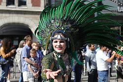 June 11, 2017 - Helsinki, Finland - A samba dancer dressed in a flamboyant costume takes part in the Samba procession in Helsinki during the 27th Samba Carnival. (Credit Image: © Zhang Xuan/Xinhua via ZUMA Wire)