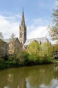 St John's RC church, River Avon, Bath, Somerset, England, UK