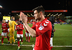 Charlton Athletic's player coach Johnnie Jackson applauds the fans at full time