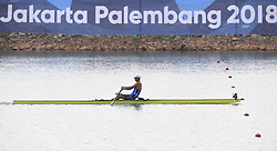 PALEMBANG, Aug. 24, 2018  Gold medalist Park Hyunsu of South Korea competes during the men's lightweight single sculls final of the rowing event at the Asian Games 2018 in Palembang, Indonesia on Aug. 24, 2018. (Credit Image: © Cheng Min/Xinhua via ZUMA Wire)