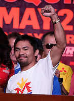 April 28.2015. Las Vegas NV. Manny  Pacquiao arrives for the fans Tuesday at the Mandalay Bay. Manny  Pacquiao  will be fighting Floyd Mayweather Jr. the long awaited fight in May 2nd at the MGM grand hotel.<br /> Photo by Gene Blevins/LA DailyNews