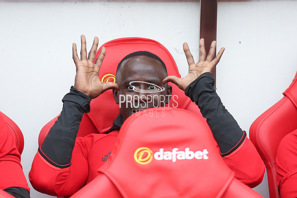 Middlesbrough midfielder Albert Adomah (27) on the subs bench during the Premier League match between Sunderland and Middlesbrough at the Stadium Of Light, Sunderland, England on 21 August 2016. Photo by Simon Davies.