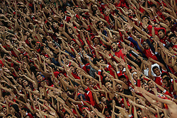 November 2, 2018 - Alexandria, Egypt - Al-Ahly supporters cheer for their team during their first leg of Final African Champions League CAF match Between Al Ahly and Esperance de Tunis at Borg Al Arab Stadium,on 2 November, 2018. (Credit Image: © Ahmed Awaad/NurPhoto via ZUMA Press)