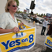 Proposition 8, the anti gay marriage initiative, is protested on Election Day on November 4, 2008 in Los Angeles, CA.