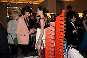 INES DE LA FRESSANGE, ; NINE D'URSO;, Cocktail party to launch the Miss Viv bag. ( Smash-and-grab raiders seized more than a dozen  of the handbags but they were recovered after the raiders crashed their motorbike and the bags spilled out onto the street. )<br /> Roger Vivier, 188 Sloane Street, London SW1, *** Local Caption *** -DO NOT ARCHIVE-© Copyright Photograph by Dafydd Jones. 248 Clapham Rd. London SW9 0PZ. Tel 0207 820 0771. www.dafjones.com.<br /> INES DE LA FRESSANGE, ; NINE D'URSO;, Cocktail party to launch the Miss Viv bag. ( Smash-and-grab raiders seized more than a dozen  of the handbags but they were recovered after the raiders crashed their motorbike and the bags spilled out onto the street. )<br /> Roger Vivier, 188 Sloane Street, London SW1,