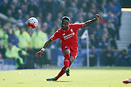 Nathaniel Clyne of Liverpool passes the ball forward. Barclays Premier League match, Everton v Liverpool at Goodison Park in Liverpool on Sunday 4th October 2015.<br /> pic by Chris Stading, Andrew Orchard sports photography.