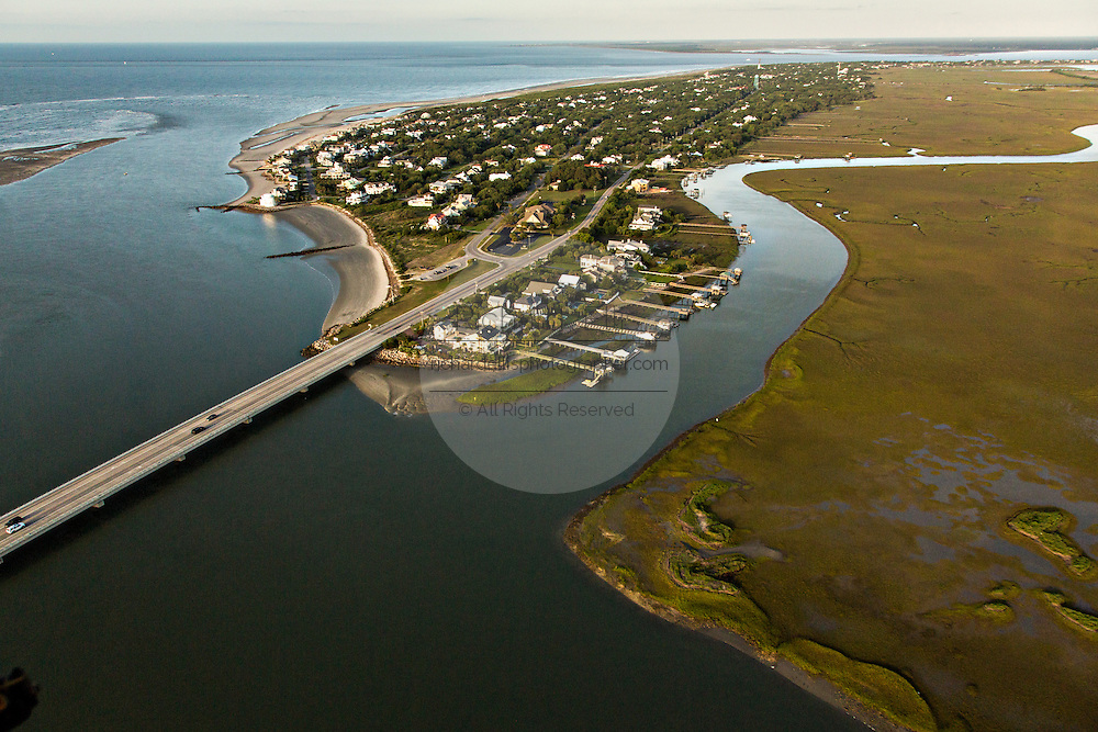 Aerial view of the intracoastal waterway Sullivan's Island, SC.