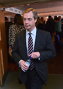 © Licensed to London News Pictures. 23/03/2013. Exeter, UK. Nigel Farage, Leader of UKIP, before he makes his keynote speech to the conference.  The UK Independence Party (UKIP) 2013 Spring Conference is held at the Great Hall, Exeter University today, Saturday 23rd March 2013. Support for the party is rising after success in the recent Eastleigh by-election, where UKIP came second behind the Liberal Democrats. Photo credit : Stephen Simpson/LNP
