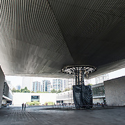 MEXICO CITY, MEXICO--A large concrete umbrella covers part of the central courtyard of the National Museum of Anthropology in Mexico City. The National Museum of Anthropology showcases  significant archaeological and anthropological artifacts from the Mexico's pre-Columbian heritage, including its Aztec and indiginous cultures.
