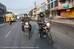 Scotty Busch (L) and Denver Joe Hicks on day-9 of our Himalayan Heroes adventure riding from Pokhara to Nuwakot, Nepal. Wednesday, November 14, 2018. Photography ©2018 Michael Lichter.