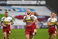 Zak Hardaker (1) of Wigan Warriors celebrates his team's win after the Betfred Super League match between Huddersfield Giants and Wigan Warriors at the John Smiths Stadium, Huddersfield, England on 1 March 2020.