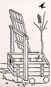 Cannon formed of iron staves hooped together and mounted on a primitive gun carriage. From 'De re militari' by Roberto Valturio (Verona, 1472). Woodcut.