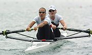 FISA World Cup Rowing Munich Germany..27/05/2004..Thursday morning opening heats...CAN W2-.Stroke Karen Clark and Darcy Marquardt.. [Mandatory Credit: Peter Spurrier: Intersport Images].