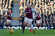Aston Villa defender Alan Hutton (21) defends against Fulham midfielder Stefan Johansen (8) during the EFL Sky Bet Championship match between Fulham and Aston Villa at Craven Cottage, London, England on 17 February 2018. Picture by Andy Walter.