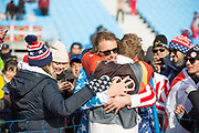 Mick Dierdorff, USA, celebrates his 5th position with friends following the mens boardercross finals at the Pyeongchang Winter Olympics on 15th February 2018 at Phoenix Snow Park in South Korea